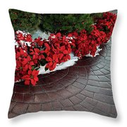 The Path To Christmas - Poinsettias, Trees, Snow, And Walkway Throw Pillow