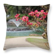 The Path To The Fountain Throw Pillow