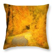 The Pathway Of Fallen Leaves Throw Pillow