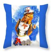 The Patriotic Fashion Girl Throw Pillow