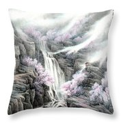 The Peach Blossoms In The Mountains Throw Pillow