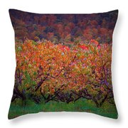 The Peach Orchard Throw Pillow