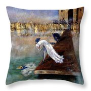 The Peacock And The Crow Throw Pillow