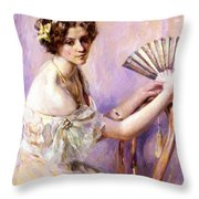 The Pearl Fan Throw Pillow