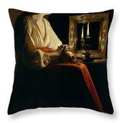 The Penitent Magdalen, Georges De La Tour Throw Pillow