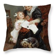 The Penitent Puppy Throw Pillow