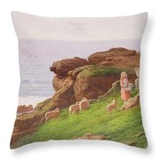 The Pet Lamb Throw Pillow by J Hardwicke Lewis