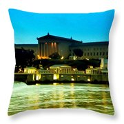 The Philadelphia Art Museum And Waterworks At Night Throw Pillow