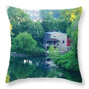 The Philadelphia Canoe Club At The Mouth Of The Wissahickon Throw Pillow
