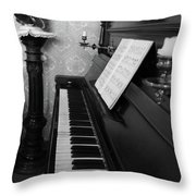 The Piano - Black And White Throw Pillow