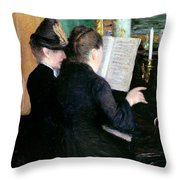 The Piano Lesson Throw Pillow by Gustave Caillebotte