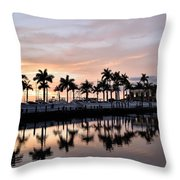 Reflecting Palms At The Pier 22 Throw Pillow