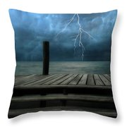 The Pier And The Storm Throw Pillow