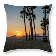 The Pier At Sunset Throw Pillow