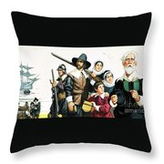 The Pilgrim Fathers Arrive In America Throw Pillow