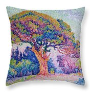 The Pine Tree At Saint Tropez Throw Pillow by Paul Signac