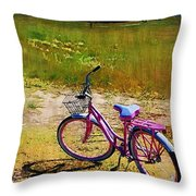 The Pink Bike Throw Pillow
