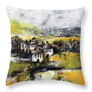 The Pink House Throw Pillow