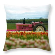 The Pink Tractor Throw Pillow
