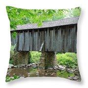 The Pisgah Covered Bridge Throw Pillow