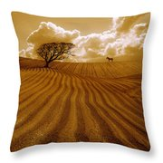The Ploughed Field Throw Pillow by Mal Bray