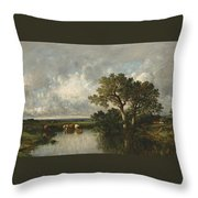 The Pond With Oaks Throw Pillow