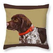The Pooch With A Red Collar Throw Pillow