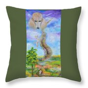 The Poodle Bridge Throw Pillow