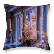 The Porch Of The European Collection Art Gallery At The Huntington Library In Infrared Throw Pillow