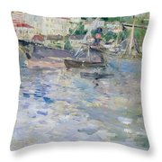 The Port At Nice Throw Pillow by Berthe Morisot