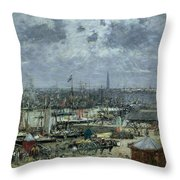 The Port Of Bordeaux Throw Pillow by Eugene Louis Boudin