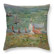 The Port Of Gorey On Jersey Throw Pillow by Berthe Morisot