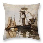 The Port Of Honfleur Throw Pillow
