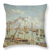 The Port Of Le Havre In The Afternoon Sun Throw Pillow