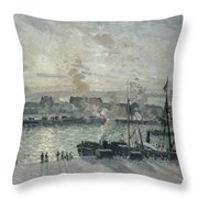 The Port Of Rouen Throw Pillow