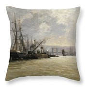 The Port Of Rouen Throw Pillow
