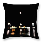 The Port, The Lights, And The Moon Throw Pillow