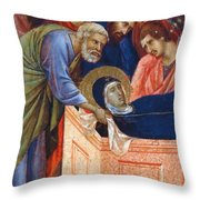 The Position Of Mary In The Tomb Fragment 1311 Throw Pillow