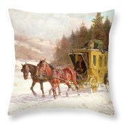 The Post Coach In The Snow Throw Pillow by Fritz van der Venne