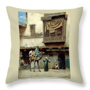 The Pottery Seller In Old City Throw Pillow