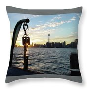 The Precision Of Sunset In The Harbour Throw Pillow