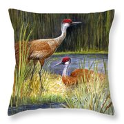 The Protector - Sandhill Cranes Throw Pillow