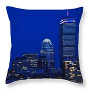 The Pru Lit Up In Red White And Blue For The Fourth Of July Throw Pillow