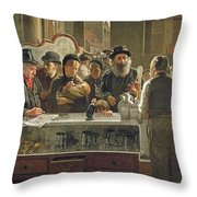 The Public Bar Throw Pillow by John Henry Henshall