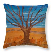 The Pumpkin Tree Throw Pillow by Dawn Vagts