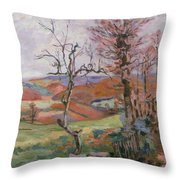The Puy Barion At Crozant Throw Pillow