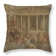 The Queen Of Sheba Before King Solomon Throw Pillow