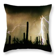 The Quiet Southwest Desert Lightning Storm Throw Pillow