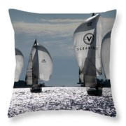 Sails Up - The Race Is On Throw Pillow