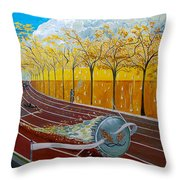 The Race Of Tumbles Throw Pillow